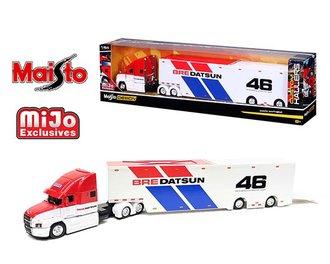 """1:64 Design Custom Hauler - Mack Anthem """"BRE Datsun #46"""" (White/Red/Blue)"""