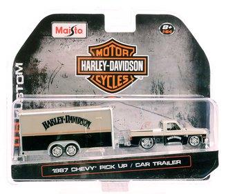 1:64 Harley-Davidson Custom - 1987 Chevy Pickup w/Car Trailer (Silver/Black)