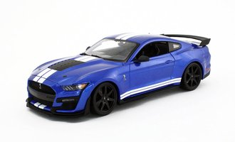 1:18 2020 Mustang Shelby GT 500 (Blue w/White Stripes)