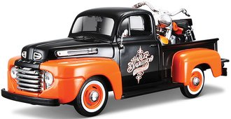Harley-Davidson 1948 Ford F-1 Pickup w/1958 Duo Glide Motorcycle