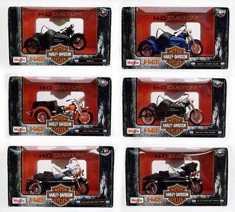 Harley-Davidson Motorcycles w/Side Car (Set of 6)