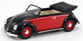 1:43 1949 VW Cabriolet (Black/Red)