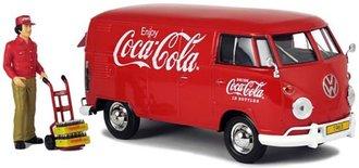 1:24 Coca-Cola Volkswagen T1 Cargo Van w/Delivery Driver, Hand Cart & Crates (Red)