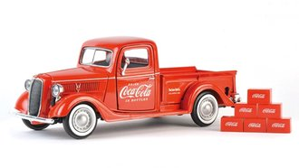 1:24 Coca-Cola 1937 Ford Pickup w/6 Bottle Cartons