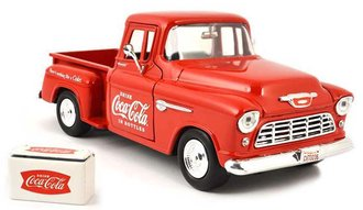 Coca-Cola 1955 Chevy Stepside Pickup w/Commerical Cooler (Red)