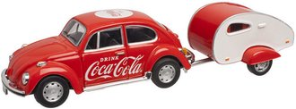 1:43 Coca-Cola 1967 VW Beetle w/Teardrop Trailer
