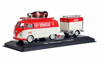 Coca-Cola 1960 Volkswagen T1 Kombi Van w/Large Promo Bottle & Trailer (Red/White)