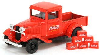 1:43 Coca-Cola 1934 Ford Model A Pickup w/6 Bottle Cartons (Red)
