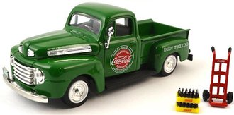 1:43 Coca-Cola 1948 Ford Pickup (Green) w/Handcart, Coke Bottle Cases