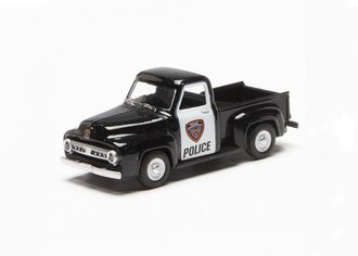 "1:48 1953 Ford F-100 Pickup Truck ""Police"" (Black/White)"
