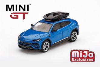 1:64 Lamborghini Urus (LHD) w/Roof Box (Blu Eleos)