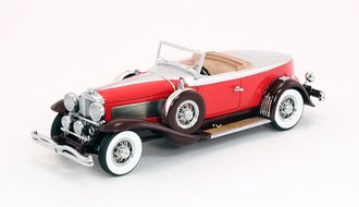 1:43 1929 Duesenberg Model J Torpedo Boat Tail Convertible Coupe (Red)