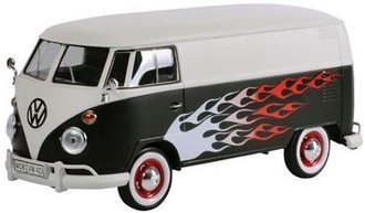 1:24 Platinum Collection - Volkswagen Type 2 (T1) Delivery Van (White/Black w/Flames)