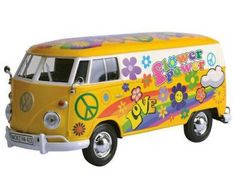 "1:24 Volkswagen Type 2 (T1) Delivery Van ""Flower Power"" (Yellow/White)"