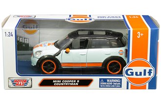 1:24 Gulf Oil - Mini Cooper S Countryman (Light Blue w/Orange Stripes & Black Top)