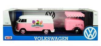 1:24 Volkswagen Type 2 (T1) Ice Cream Truck & Trailer (Pink)
