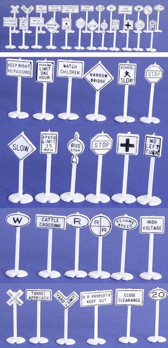 1:87 HO - Road & Rail Signs