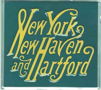 "8"" Die-Cut Metal Sign ""New York, New Haven & Hartford"""
