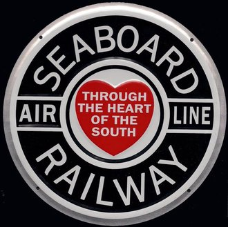 "8"" Die-Cut Metal Sign ""Seaboard Air Line Railway"""