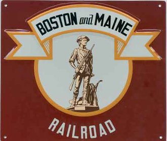 "8"" Die-Cut Metal Sign ""Boston & Maine"""