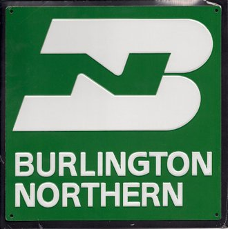 "8"" Die-Cut Metal Sign ""Burlington Northern"""