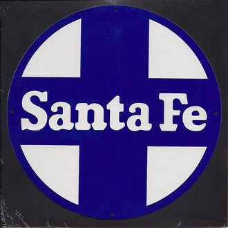"8"" Die-Cut Metal Sign ""Santa Fe"" (Blue)"