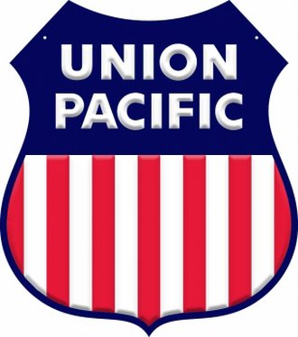 "8"" Die-Cut Metal Sign ""Union Pacific"" (w/o RR Lettering)"