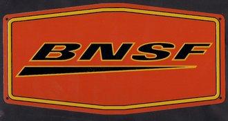 """10"""" Die-Cut Metal Sign """"BNSF"""" (Swoosh)"""