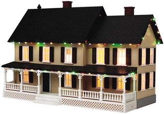 1:48 Country House w/Operating Christmas Lights (Tan w/Dark Brown Shutters & Black Roof)
