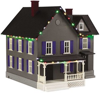 1:48 Farm House w/Operating Christmas Lights (Gray w/Blue Shutters & Black Roof)