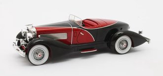 1:43 1931 Duesenberg J SWB French True Speedster by Figoni #J-465-2509 (Black/Red)