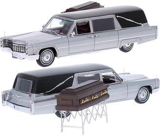 1966 Cadillac S&S Landau Hearse (Silver) w/Casket & Cart Stand