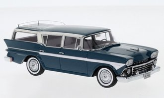 1:43 1958 AMC Rambler Custom Cross Country 6 Station Wagon (Dark Blue Metallic/White)