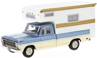 1968 Ford F-100 Pickup w/Slide-In Camper (Light Blue Metallic/White)