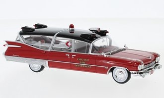 "1:43 1959 Cadillac Superior Ambulance ""Chicago Fire Department"" (Red/Black)"