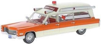 1:43 1966 Cadillac S&S Ambulance (Orange/White)