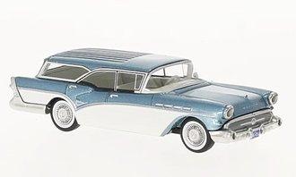1:64 1957 Buick Century Caballero Estate Wagon (Light Blue Metallic/White)