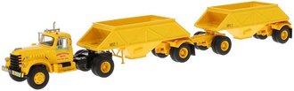 1:64 1955 Diamond T 921 w/Open Bottom Dump Trailers (2) (Yellow)