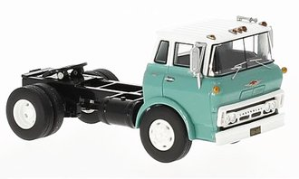 1:64 1960 Chevy COE Steel Tilt Cab Single-Axle Tractor (Turquoise/White)