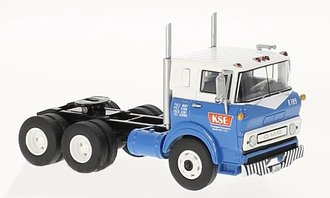 1:64 1960 GMC Steel Tilt Cab Dual-Axle Tractor (Blue/White)