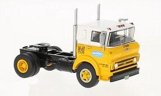 1:64 1964 Chevy COE Steel Tilt Cab Single-Axle Tractor (Yellow/White)