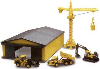 1:64 Volvo Construction Vehicles, Building Site Crane & Machine Shed (Set of 5)