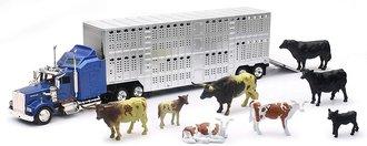 Kenworth W900 w/Livestock Trailer (1:43) & Cattle (1:32)