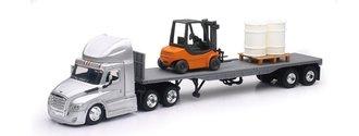 1:43 Freightliner Cascadia w/Flatbed Trailer, Forklift & Barrels (2)