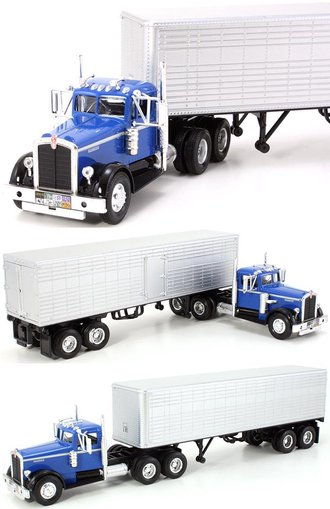 1:43 1951 Kenworth 525 w/Van Trailer (Blue/Silver)