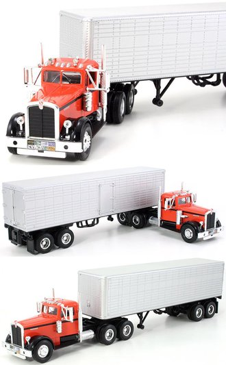 1:43 1951 Kenworth 525 w/Van Trailer (Red/Silver)