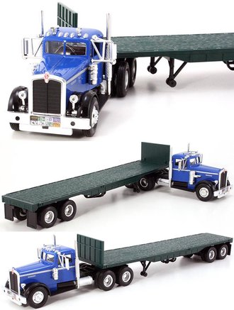 1:43 1951 Kenworth 525 w/Flatbed Trailer (Blue)