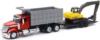 International LoneStar Dump Truck w/Excavator & Tag-A-Long Trailer