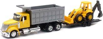 International LoneStar Dump Truck w/Backhoe & Tag-A-Long Trailer