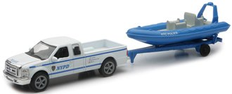 1:43 NYPD Ford F-250 w/Trailer & Inflatable Boat